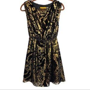 Alice + Olivia • Gold Velvet Burnout Dress